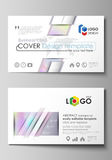 Business card templates. Easy editable layout, abstract vector design template. Hologram, background in pastel colors Royalty Free Stock Photography