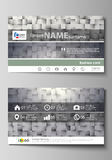 Business card templates. Easy editable layout, abstract vector design template. Pattern made from squares, gray Royalty Free Stock Image