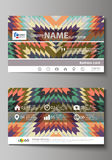 Business card templates. Easy editable layout, abstract vector design template. Tribal pattern, geometrical ornament in Stock Photo