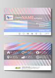 Business card templates. Easy editable layout, abstract vector template. Sweet pink and blue decoration, pretty romantic Stock Image