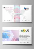 Business card templates. Easy editable layout, abstract vector template. Sweet pink and blue decoration, pretty romantic Royalty Free Stock Photography