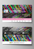 Business card templates. Easy editable layout, vector design template. Colorful background made of stripes. Abstract. Business card templates. Easy editable stock illustration