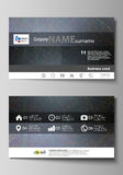 Business card templates. Easy editable layout, vector design template. Colorful dark background with abstract lines Royalty Free Stock Photos