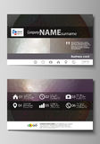Business card templates. Easy editable layout, vector design template. Dark color triangles and colorful circles Royalty Free Stock Photo