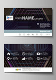 Business card templates. Easy editable layout, vector template. Abstract polygonal background with hexagons, illusion of. Business card templates. Easy editable Royalty Free Stock Image