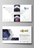 Business card templates. Easy editable layout, vector template. Abstract polygonal background with hexagons, illusion of. Business card templates. Easy editable Stock Photo