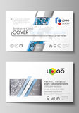 Business card templates. Easy editable layout, vector template. Blue and gray color hexagons in perspective. Abstract Royalty Free Stock Photos