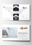 Business card templates. Easy editable layouts, flat style template, vector illustration. High tech design, connecting. System. Science and technology concept royalty free illustration