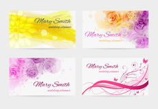Business card templates. Set of four business card templates for wedding planner Stock Photo