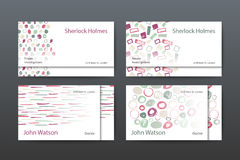 Business card templates. Vector business card templates with watercolor hand drawn brush patterns Royalty Free Stock Photography