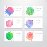 Business card templates with watercolor design in Royalty Free Stock Photo