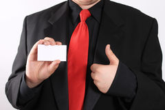 Business card and thumbs up Royalty Free Stock Photo
