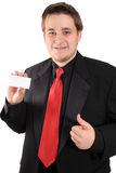 Business card and thumbs up Royalty Free Stock Image