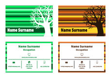 Business card with tree in natural colors Royalty Free Stock Photography