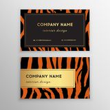 Business card trendy zebra and tiger pattern. Wild animals business card. Abstract Modern Backgrounds royalty free illustration