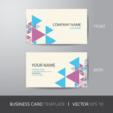 Business card triangle abstract background design layout templat. E, with bleed, vector eps10 Royalty Free Stock Photo