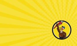 Business card Turkey Plumber Raising Wrench Circle Cartoon Royalty Free Stock Image