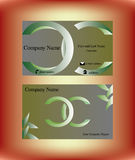 Business card with two green C letters. Business card with double C letter logo design and abstract natural decorations Stock Images