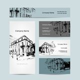Business card, urban design. Street of Barcelona. City. Vector illustration Royalty Free Stock Photo