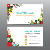 Business card vector background,Decorated with flowers frame Stock Image