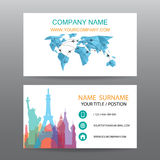 Business card vector background, guide tour companies Stock Image