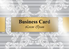 Business card Vector Baroque ornament pattern. Vintage decor soft fabric textures Royalty Free Stock Photos