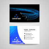 Business card vector blue light line is about network Relationship and technology Stock Image