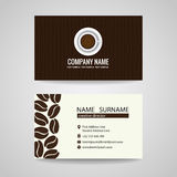 Business card vector graphic design , coffee cup and coffee beans Royalty Free Stock Images