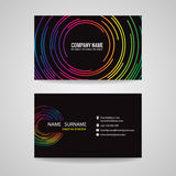 Business card vector graphics (line circle rainbow) Royalty Free Stock Image