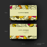 Business card vector template with autumn leaf ornament background. Creative modern design Stock Images
