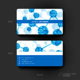 Business card vector template with DNA molecule background Royalty Free Stock Images