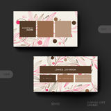 Business card vector template with floral abstract background Royalty Free Stock Photos