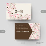 Business card vector template with floral abstract background Royalty Free Stock Photo