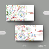 Business card vector template with floral abstract background Stock Photography