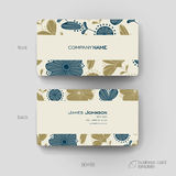 Business card vector template with floral Stock Image