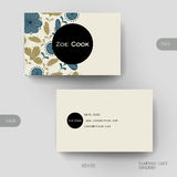 Business card vector template with floral background Stock Photography