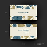 Business card vector template with floral background Stock Photos