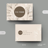 Business card vector template with floral ornament background Royalty Free Stock Photo