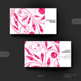 Business card vector template with floral ornament background Stock Photo