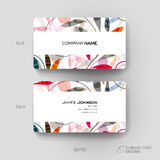 Business card vector template with floral ornament background Stock Images