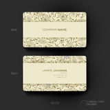 Business card vector template with floral ornament background Royalty Free Stock Photos
