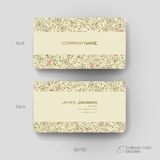 Business card vector template with floral ornament background Royalty Free Stock Photography