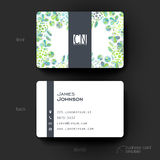 Business card vector template with floral ornament background Royalty Free Stock Images
