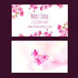Business card vector template with pink cherry Royalty Free Stock Photography