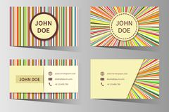 Business card vector templates with rainbow Royalty Free Stock Photography