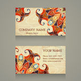 Business card. Vintage colorful ornament with swirls. Stock Image