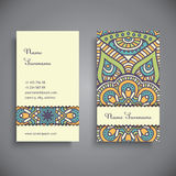 Business card. Vintage decorative elements. Hand drawn background Royalty Free Stock Images