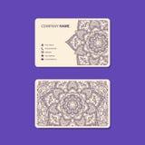 Business Card. Vintage decorative elements.. Ornamental floral business cards, oriental pattern, two colors.  illustration Stock Photos