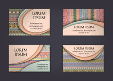 business card or visiting card template with boho style pattern background.corporate identity design. Flyer Layout. Stock Photography
