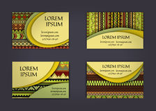 Business card or visiting card template with boho style pattern background.corporate identity design. Flyer Layout. Stock Photos